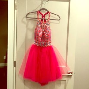 Fuchsia short formal gown never worn or altered